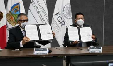 Fiscalía Electoral y PGJ de Hidalgo, firman convenio de colaboración
