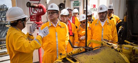 El Secretario de Energía realizó gira de trabajo por plataformas de la Sonda de Campeche.