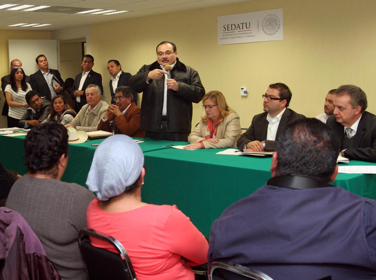 El secretario de Desarrollo Agrario, Territorial y Urbano (SEDATU), Jorge Carlos Ramírez Marín, se reunió con más de 80 integrantes de la Unión Nacional de Trabajadores Agrícolas (UNTA).