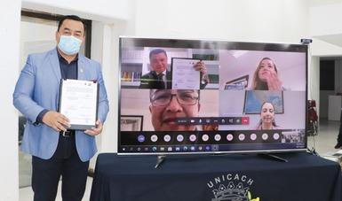 Rector de la UNICACH en videoconferencia con el presidente y titulares del INDAABIN
