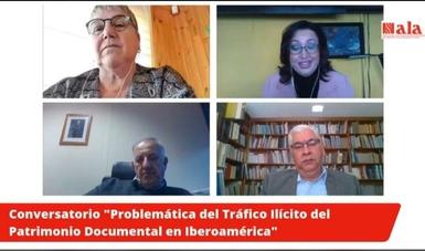 Captura de pantalla de la videoconferencia, aparecen los titulares de los archivos nacionales de Chile, España y México.