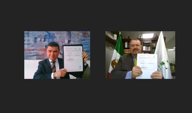Titulares mostrando el convenio firmado