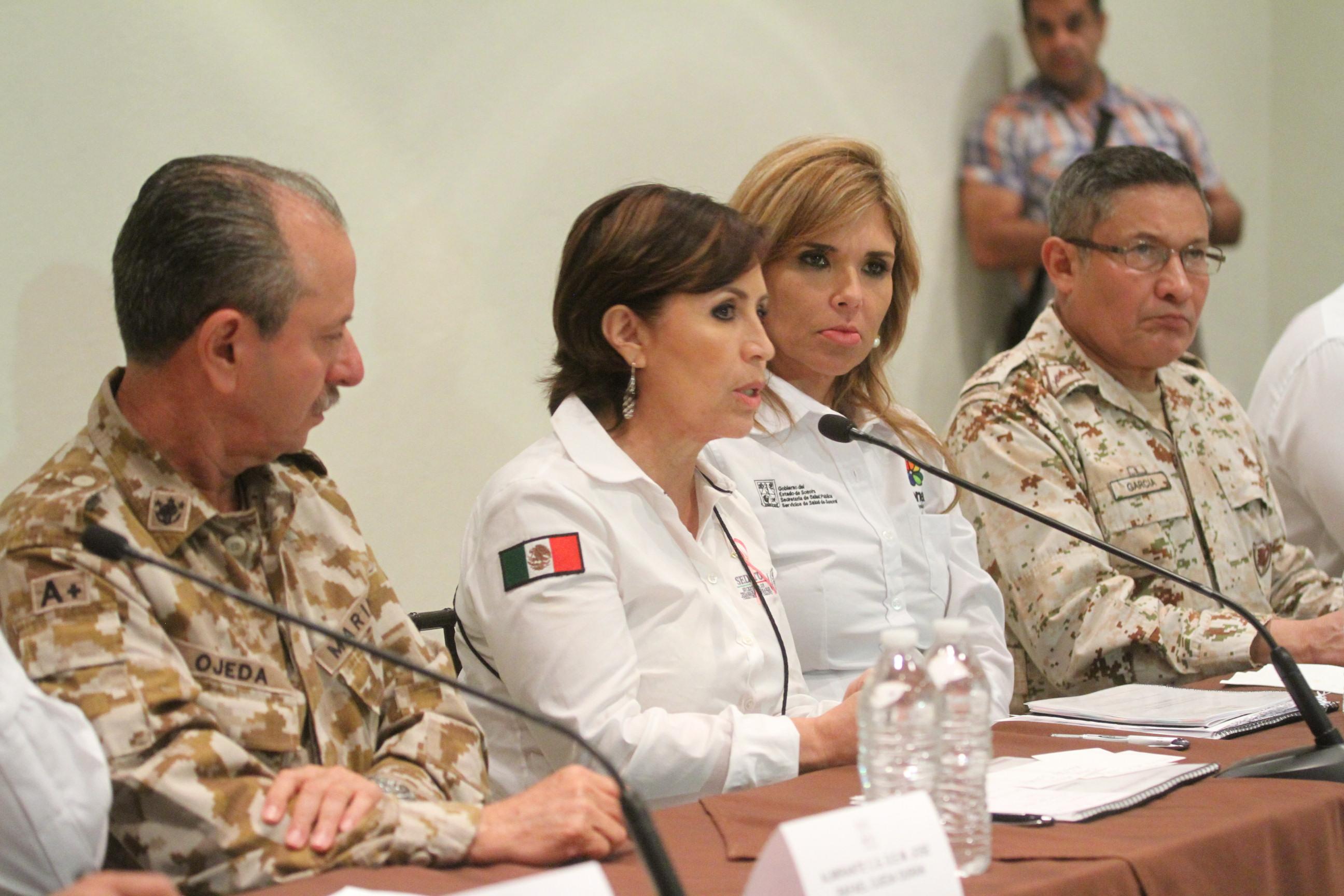 """Rosario Robles Berlanga reiteró el apoyo del Gobierno de la República, ante la declaratoria de emergencia que enfrenta el estado, por las afectaciones que causó el huracán """"Marty""""."""