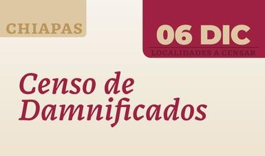 Localidades a censar en Chiapas 6 de diciembre.