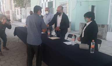 Entrega de departamentos afectados por los sismos en Atlixco, Puebla.