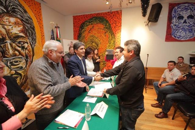 Reunión con migrantes michoacanos procedentes de Morelia, Acuitzio, Chupícuaro, Cuitzeo, Huandacareo, Tingüindín y Zinapécuaro.