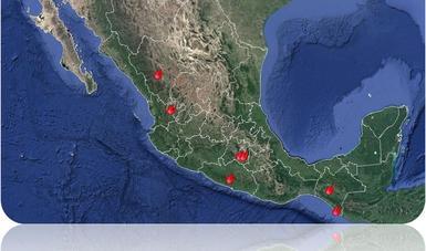 Mapa de situación de incendios forestales en México.