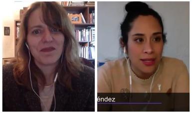 """Daniela Tarazona y Nuria Meléndez, coautoras del libro """"Clarice Lipspector. La mirada en el jardín"""", presentado en el Cecut. Foto: Captura de pantalla."""