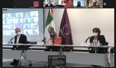 Durante la presentación de las directrices contra el hostigamiento y acoso sexual en las IES