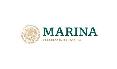 escudo nacional con letras que dicen Marina en color verde y Secretaría de Marina en color oro.