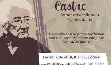 La Secretaría de Cultura, a través de Radio Educación, se suma al Homenaje Nacional a Dolores Castro con una programación especial que se transmitirá el próximo lunes 12 de abril.
