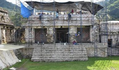 Casa B-FN.2 Foto Abril Buendia. Proyecto Palenque, Conservación, Restauración e Investigación de El Palacio y los estucos de la tumba de Pakal.