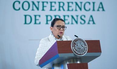 Imagen de la secretaria Rosa Icela Rodríguez en la conferencia matutina de Palacio Nacional