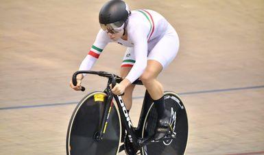 Jessica Salazar durante su participación durante el selectivo nacional de ciclismo de pista. CONADE