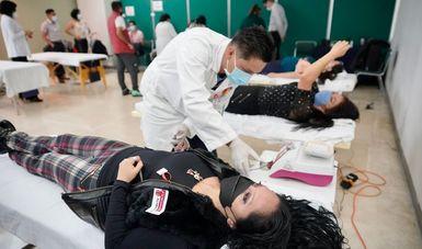 Donadores de sangre en el Módulo Itinerante.