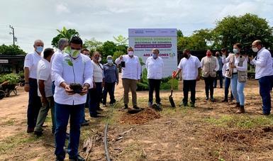 Secretario de Bienestar, Javier May Rodríguez, y gobernador de Tabasco, Adán Augusto López Hernández, encabezan banderazo con la plantación de un árbol en Balancán