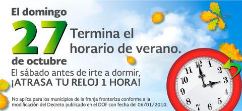Este domingo concluye el Horario de Verano.