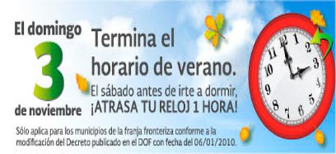 Concluye el Horario de Verano 2013 en 33 municipios de la franja fronteriza norte del país.