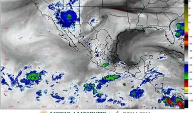 Mapa satelital de la República Mexicana.
