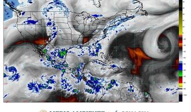 Imagen satelital con filtros de vapor de agua que muestra nubosidad sobre el territorio nacional. Logotipo de Conagua y Semarnat.