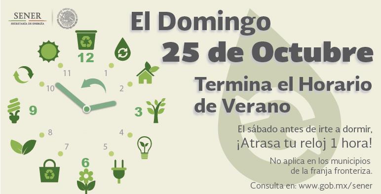 El domingo 25 de octubre concluye el Horario de Verano 2015