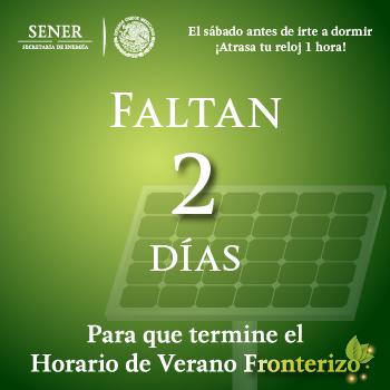 El domingo concluye el Horario de Verano 2015 en los 33 municipios de la franja fronteriza norte del país