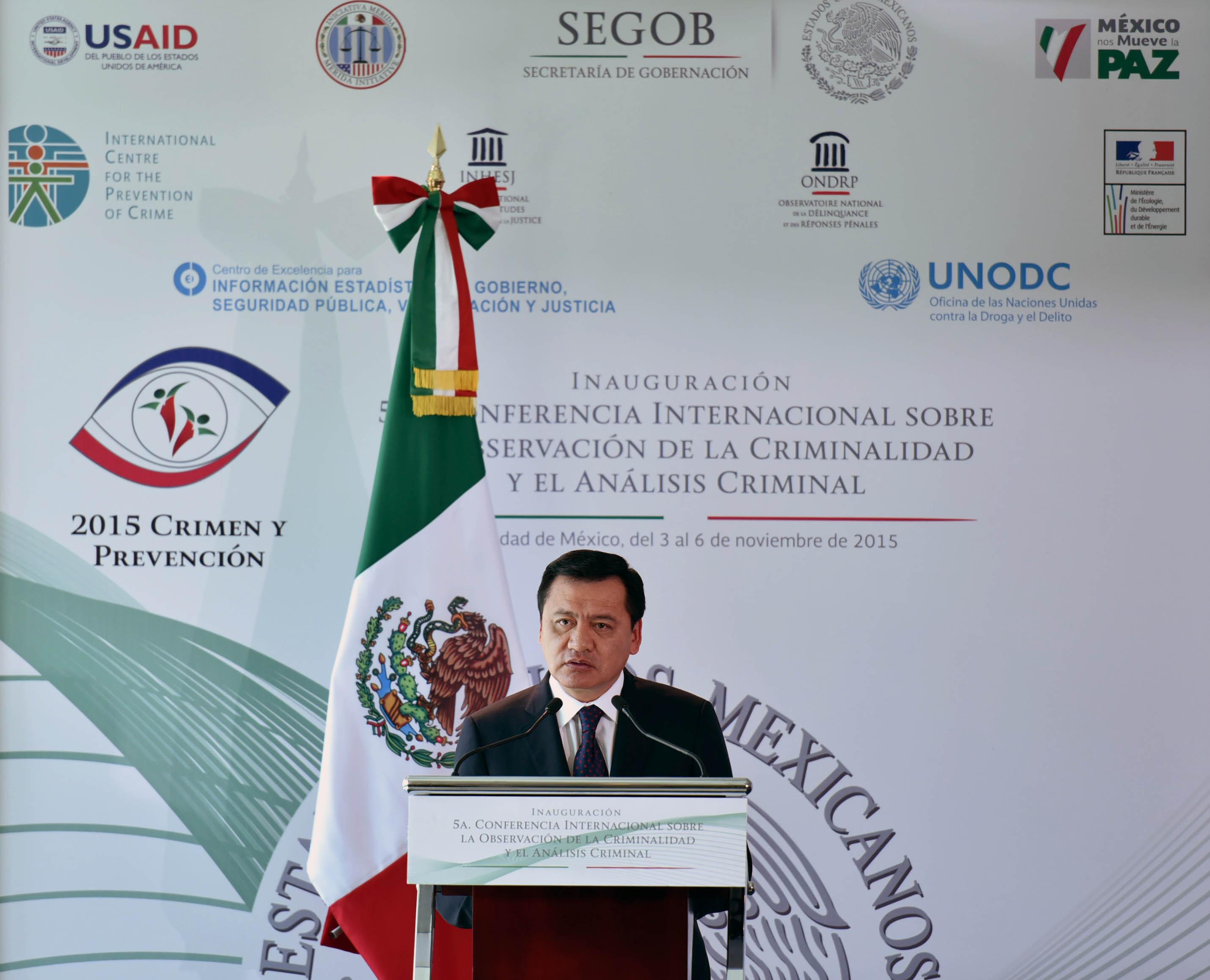 El Secretario de Gobernación, Miguel Ángel Osorio Chong, durante la Inauguración de la 5ª Conferencia Internacional sobre la Observación de la Criminalidad y el Análisis Criminal