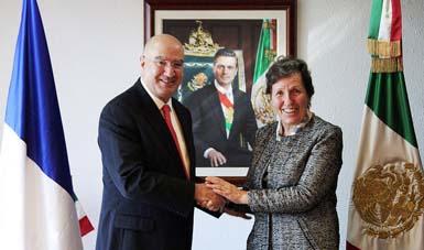 Titular de la Semarnat recibió a la Embajadora de Francia, Excma. Sra. Maryse Bossière.