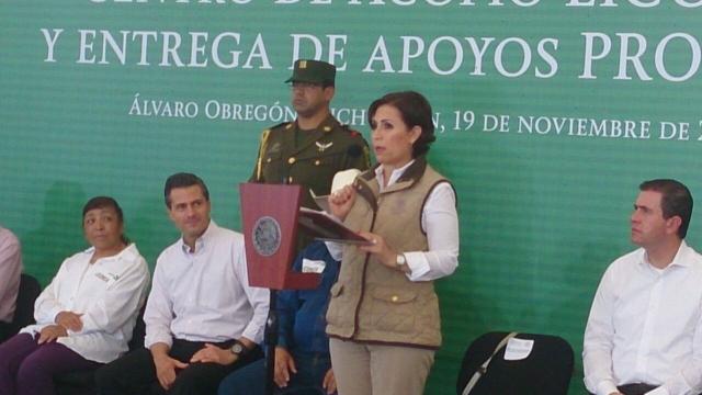 La Titular de la Sedesol informó al Presidente Enrique Peña Nieto sobre los avances del Plan Michoacán para promover el desarrollo de las familias vulnerables.