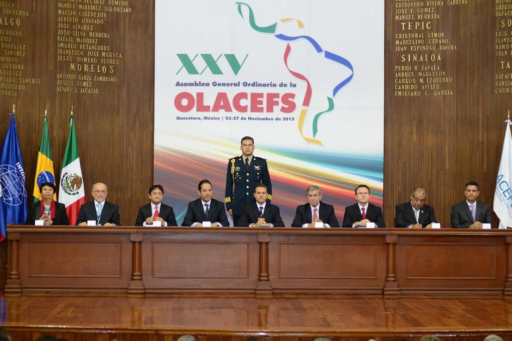 Presidium de la ceremonia de inauguración de la XXV Asamblea General Ordinaria de la OLACEFS.