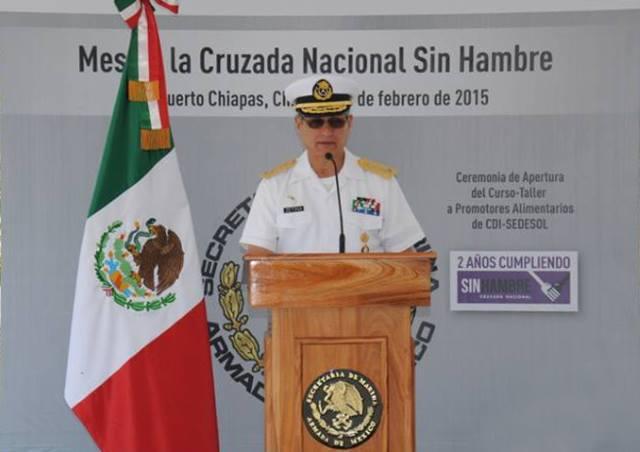 El almirante Joaquín Zetina Angulo, jefe del Estado Mayor General de la Armada presidió la ceremonia de apertura del curso taller  de Capacitación de Promotores Alimentarios de Comedores Comunitarios de la CDI-Sedesol en el estado de Chiapas