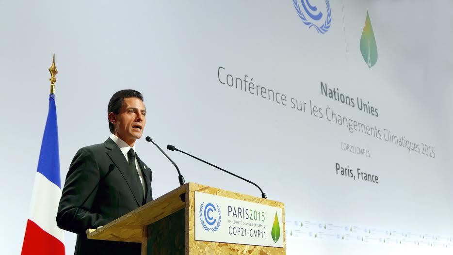 El Titular del Ejecutivo Federal resaltó que México fue el primer país en desarrollo en presentar a Naciones Unidas su contribución Prevista y Determinada a nivel nacional.