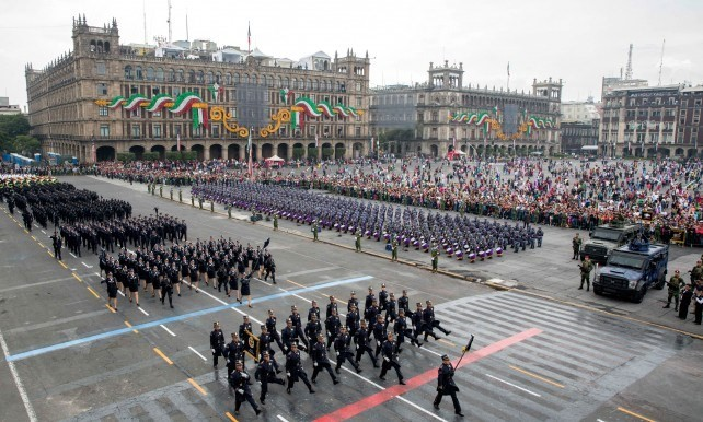 Military parade to commemorate the 205th anniversary of Mexico's Independence.