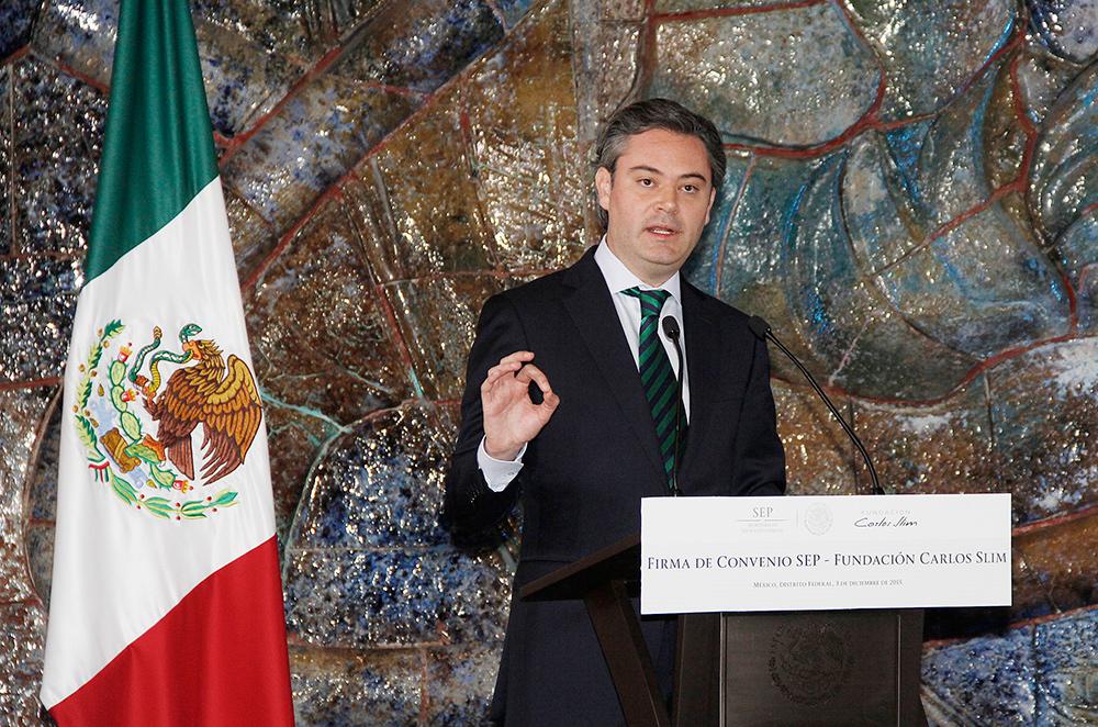 Entrevista al secretario de Educación Pública, Aurelio Nuño Mayer, al término de la firma de convenio entre la SEP y la Fundación Carlos Slim