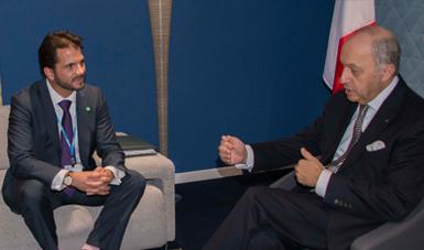 Titular de Semarnat, Rafael Pacchiano se reunió con el Ministro francés Laurent Fabius.