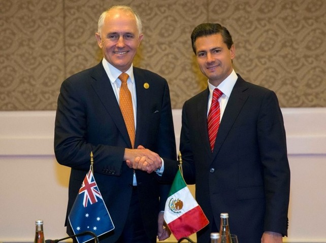 President Enrique Peña Nieto meets with Australian Prime Minister Malcolm Turnbull.