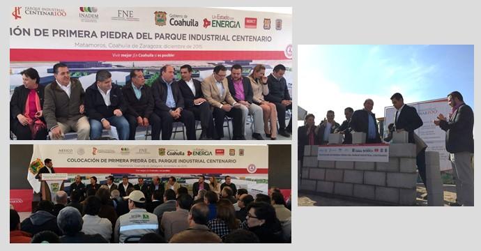 """Colocan la primera piedra del """"Parque Industrial Centenario"""" en Torreón, Coahuila"""