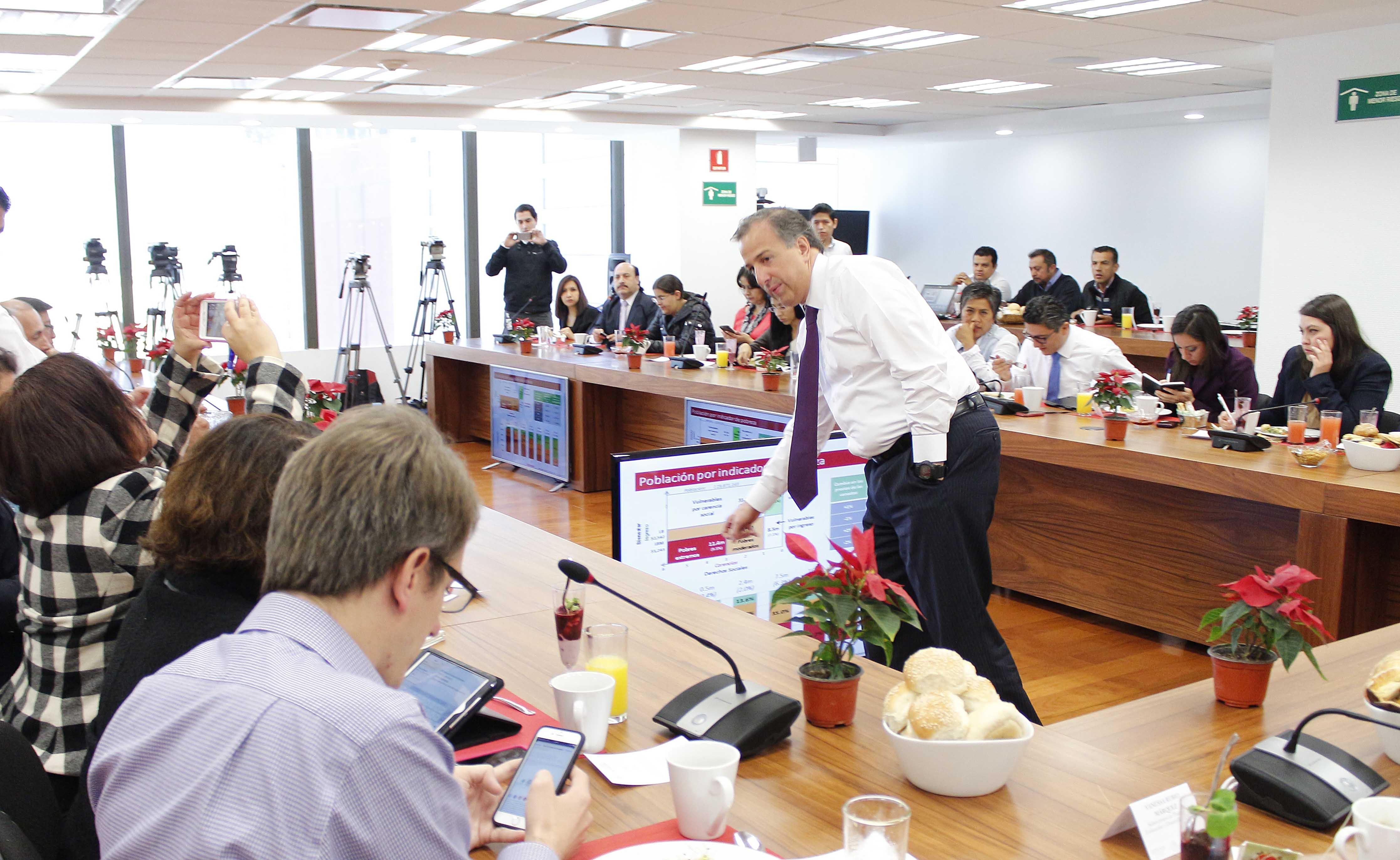 Encuentro que sostuvo el secretario Meade con reporteros que cubren las actividades de la dependencia