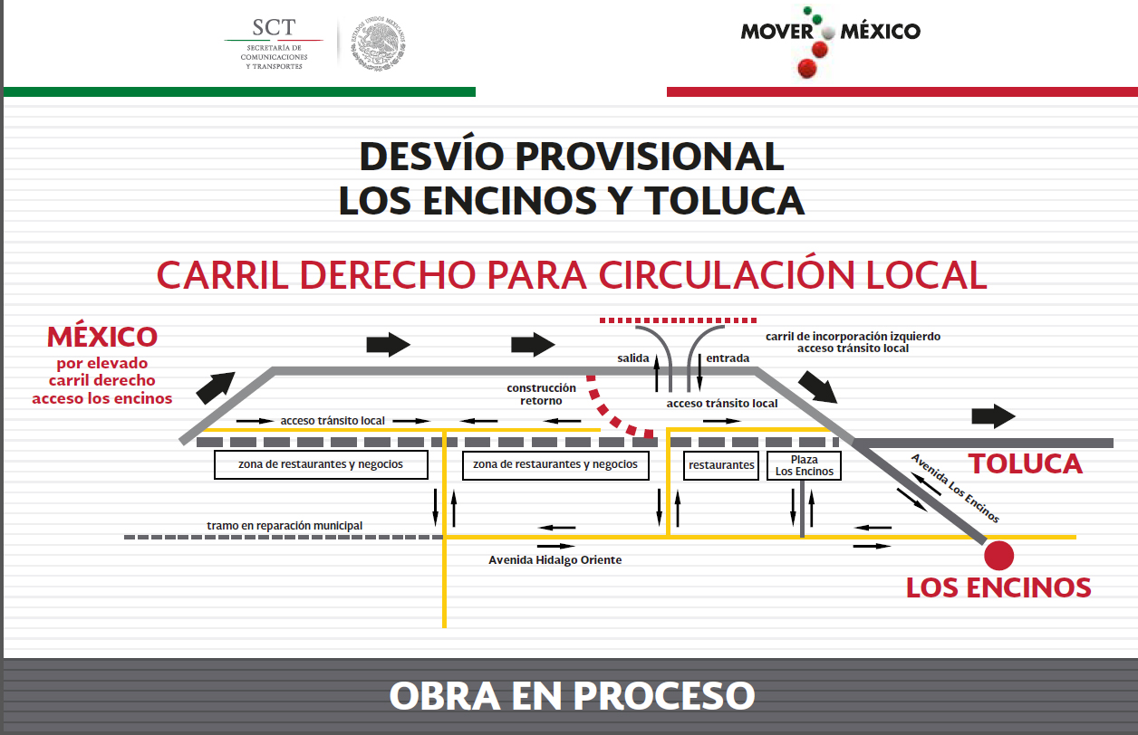 Desvío provisional en la carretera México-Toluca con dirección a la capital mexiquense