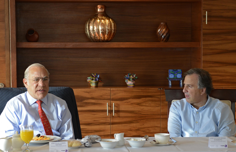 El secretario de Desarrollo Social, José Antonio Meade Kuribreña y el secretario general de la Organización para la Cooperación y el Desarrollo Económico (OCDE), José Ángel Gurría