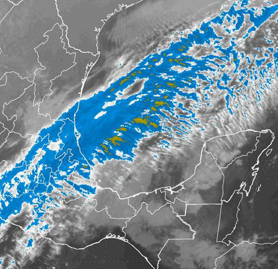 Se prevén lluvias intensas en Chiapas y Tabasco, por el Frente Frío Número 28.