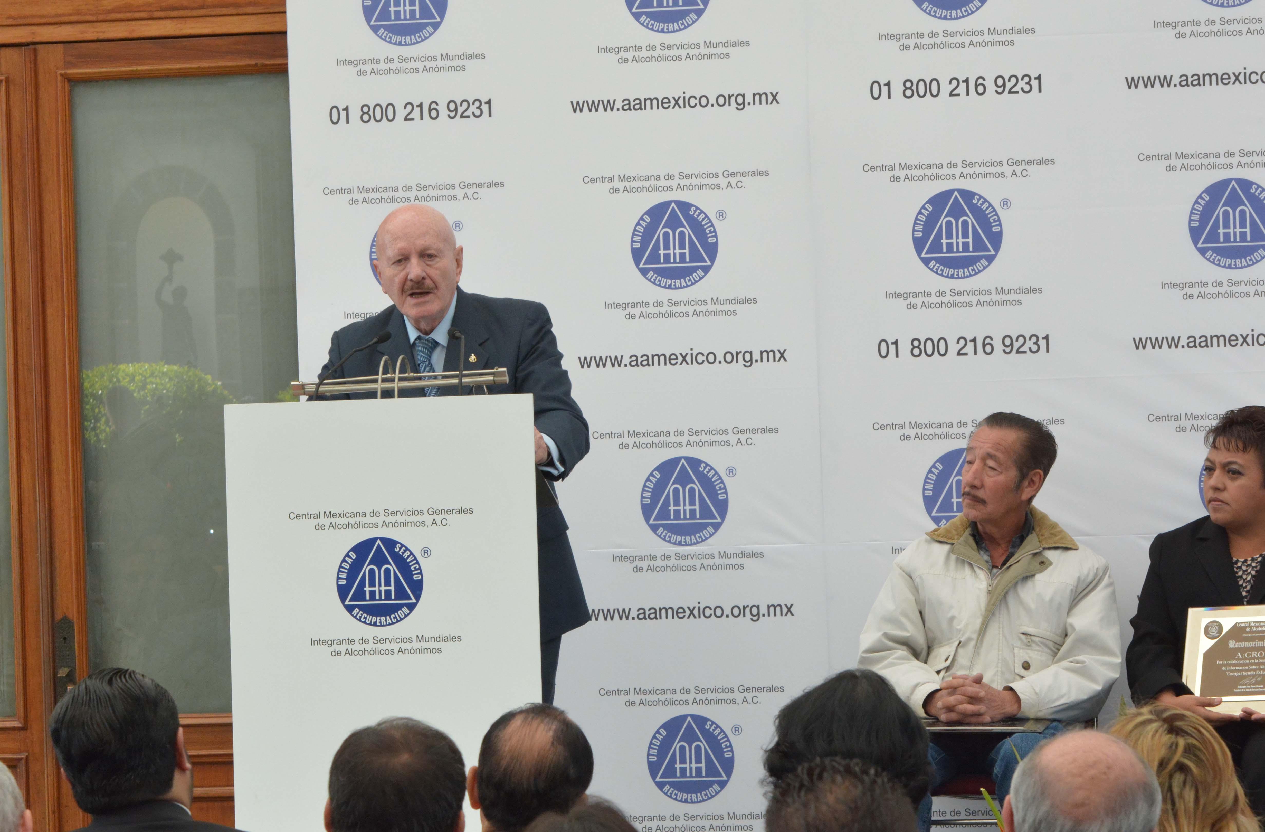 El Dr. Mondragón y Kalb, inauguró la 21 Semana Nacional de Información sobre Alcoholismo, organizada por la Central Mexicana de Servicios Generales de Alcohólicos Anónimos