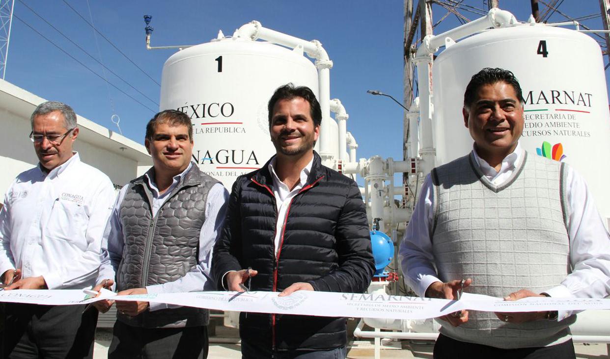 El Secretario Pacchiano encabezó la puesta en marcha de las plantas potabilizadoras 6 y 12 A