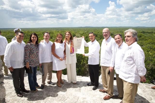 """Diversas intervenciones durante la Entrega del Certificado de UNESCO, Patrimonio Mundial Mixto a """"La Antigua Ciudad Maya y los Bosques Tropicales Protegidos de Calakmul"""""""