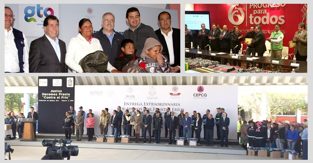 Reciben familias apoyos por adversa situación climática en Aguascalientes, Querétaro y Guanajuato