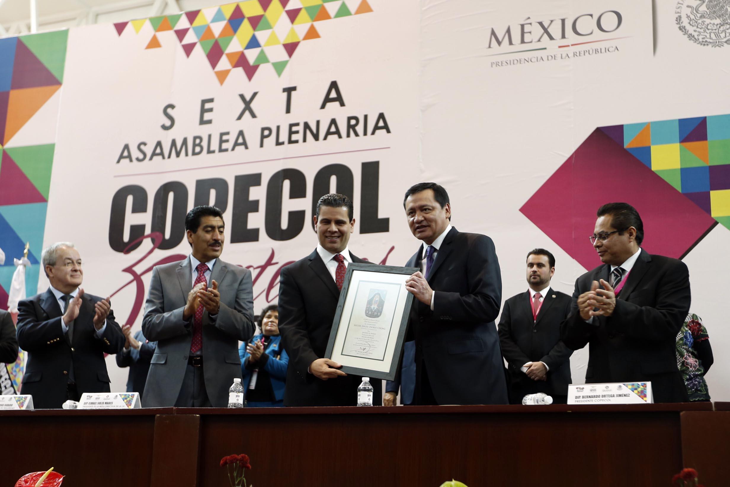 El Secretario de Gobernación, Miguel Ángel Osorio Chong, durante la Inauguración de la VI Asamblea Plenaria de la COPECOL realizada en Zacatecas
