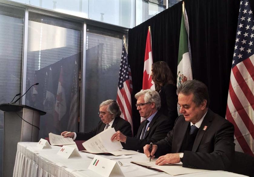 Firman México, Canadá y Estados Unidos Memorándum de Entendimiento sobre Cooperación en Materia de Cambio Climático y Energía