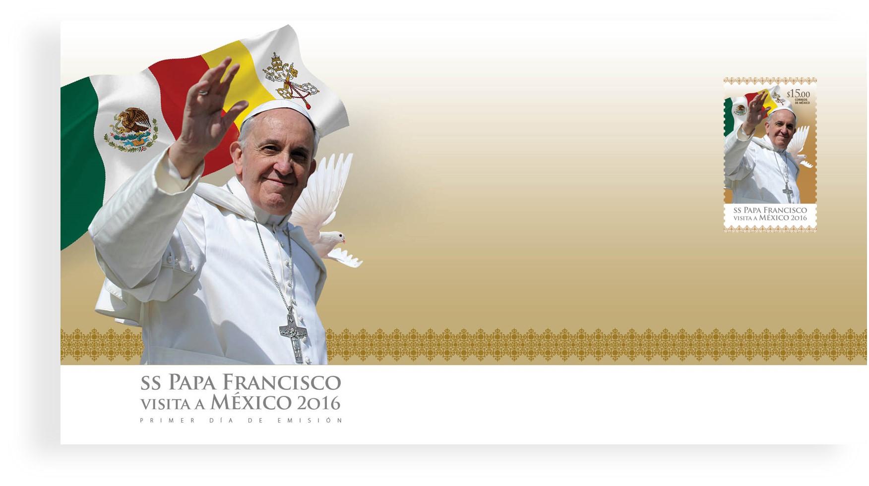 Emitió correos de México estampilla postal conmemorativa a la visita del Papa Francisco