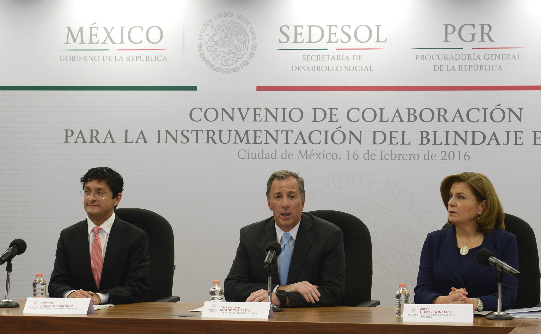 Firma del convenio de colaboración para la instrumentación del blindaje electoral entre Sedesol, PGR y Función Pública