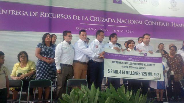 Entrega Sedesol al gobierno de Durango  una partida presupuestal por más de dos mil 414 millones de pesos para  Programas Sociales.